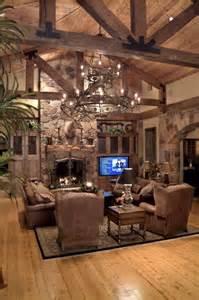 Rustic Livingroom Rustic Living Room Luxury Homes Interiors The Chandelier High Ceilings