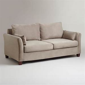 gray mink velvet luxe sofa slipcover world market With grey sectional sofa slipcover