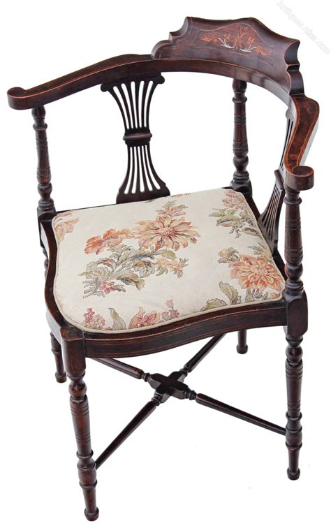 antique side chairs for edwardian inlaid mahogany corner chair side 7488