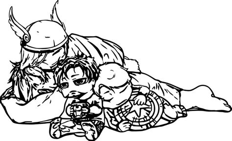 tired baby avengers coloring page
