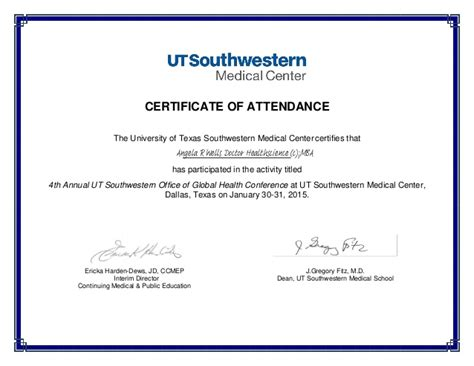 certificate  attendance global health conference signed
