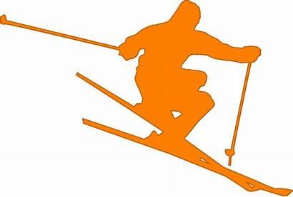 Skier Clipart Ski Orange Skiing Skis Freestyle