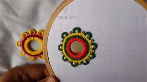 hand embroidery mirror work  multi design simple