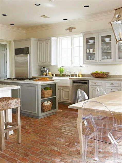 White Brick Floor Kitchen by Roses And Rust Brick Floors