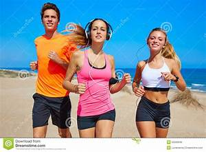 Friends Running On The Beach Happy In Summer Stock Photo ...