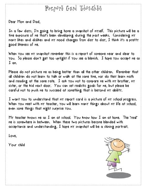 love  report card letter reminding parents