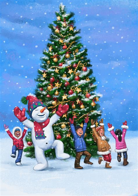 jovoto happy children and snowman dancing around a