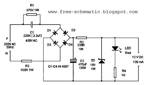 Transformerless Power Supply Circuit Wiring