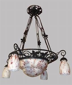 Lustre En Fer Forgé : art deco lustre ancien structure m tallique fer forg 5 ~ Dailycaller-alerts.com Idées de Décoration