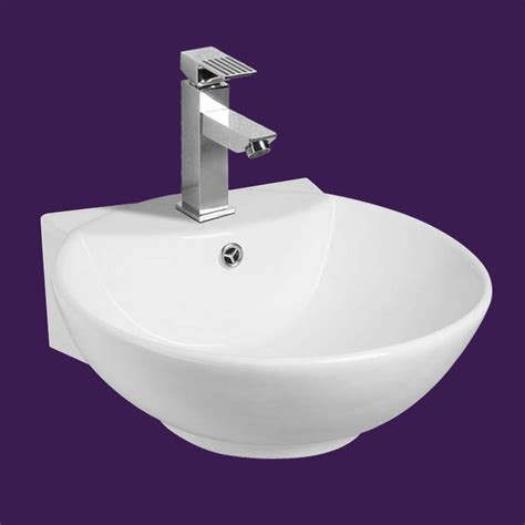 white wall mount small vessel sink easy clean  install