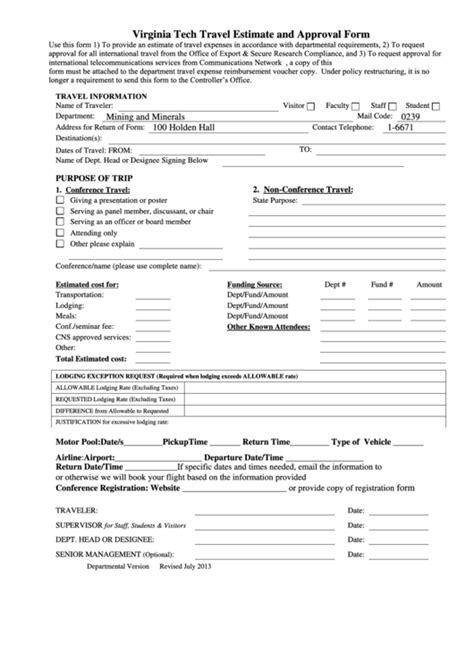 fillable virginia tech travel estimate  approval form