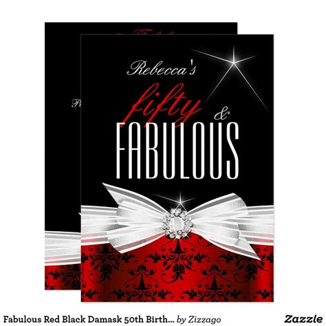 fabulous red black damask  birthday party invitation