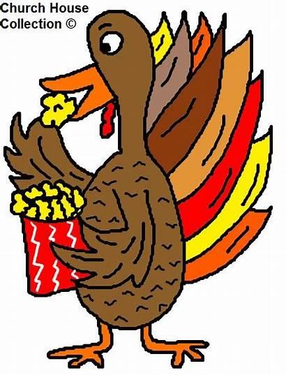 Turkey Clipart Eating Popcorn Thanksgiving Church