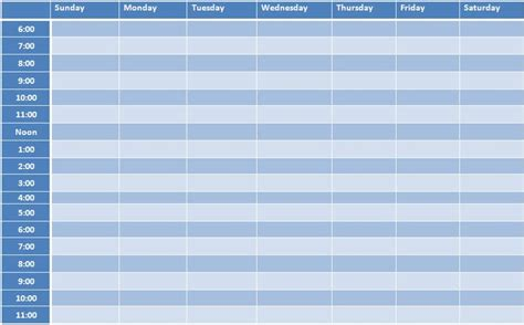 weekly schedule template weekly timetable schedule