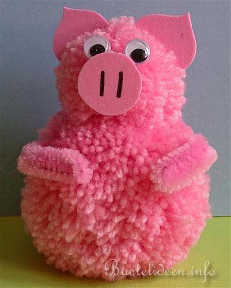 basteln mit kindern pompom schwein