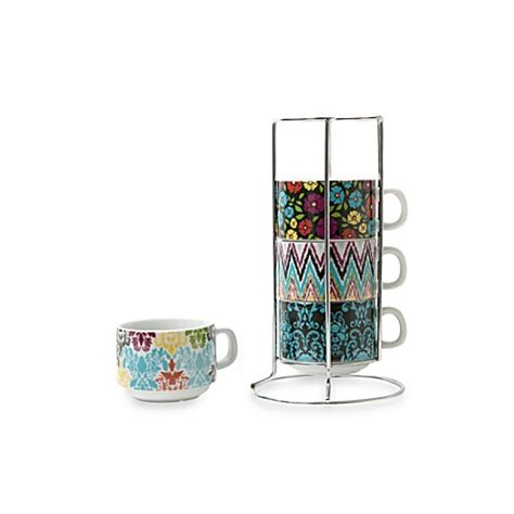stackable mugs with rack porcelain stacking mugs with wire rack bed bath beyond