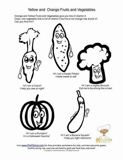 Coloring Vegetables Vitamin Orange Printable Pages Sheet