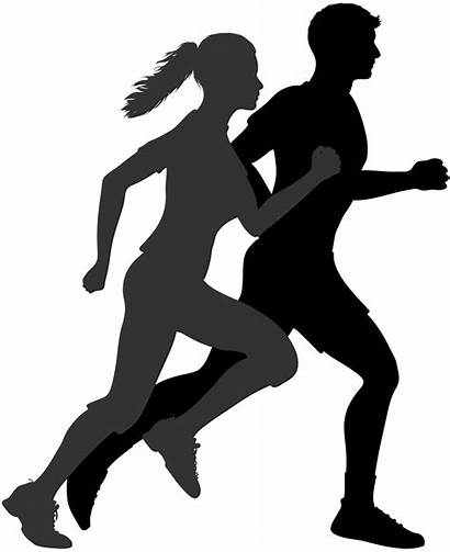Running Exercise Jogging Silhouette Woman Clipart Couple