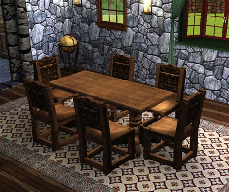 mod  sims medieval dining table  chairs sims