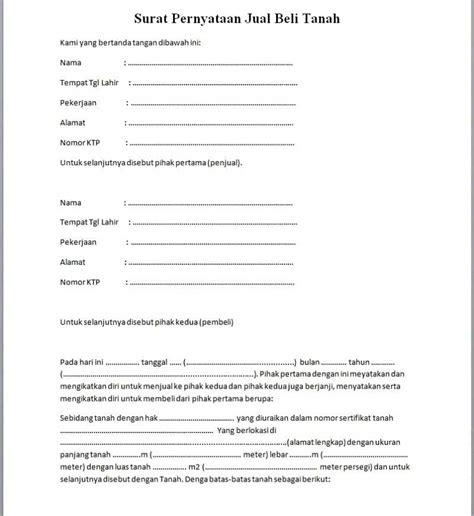 contoh surat pernyataan jual beli tanah terbaru notaris