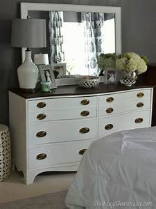 Painted dresser and mirror makeover master bedroom furniture for Master bedroom dresser