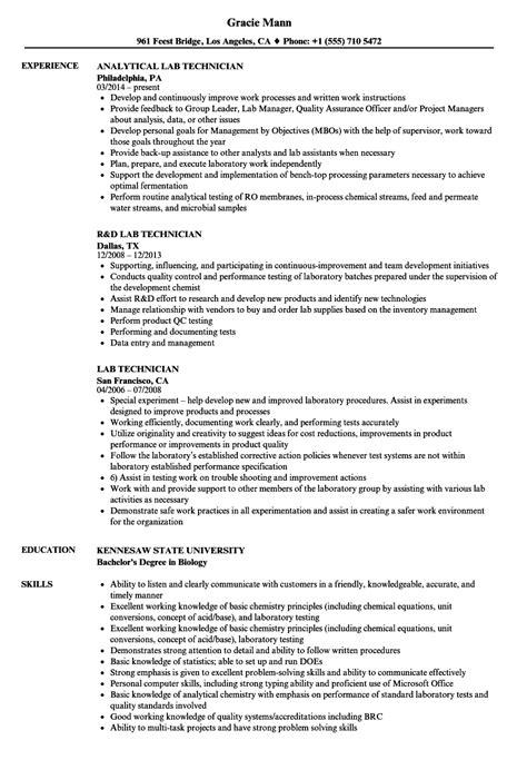 lab technician resume samples velvet jobs