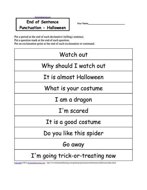 End Of Sentence Punctuation, Printable Worksheets Enchantedlearningcom