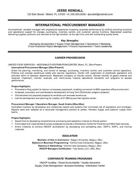 procurement resume cover letter exles free international procurement manager resume exle