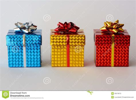three christmas gifts stock photography image 35079072