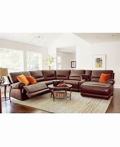 Macys leather sectional and with power recliners to boot for Macy s reclining sectional sofa