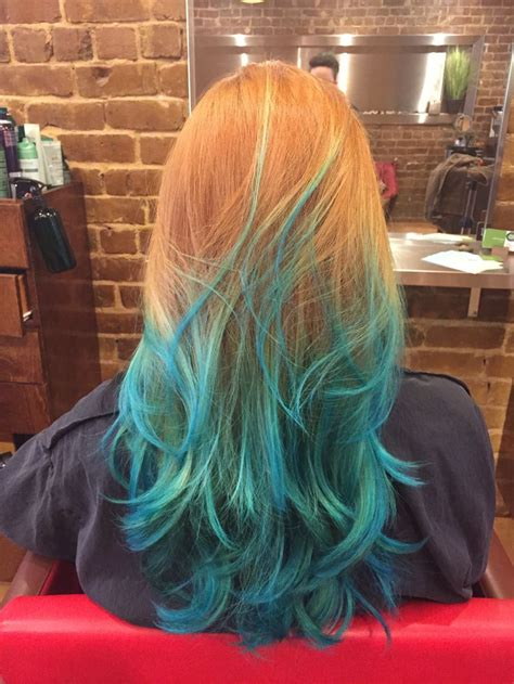 Natural Red Hair With Blue Ombre Blue Ombre Hair