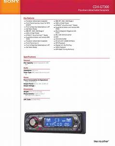 Sony Cdx Gt300 User Manual Marketing Specifications