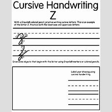 Writing Cursive Z Crayolacouk