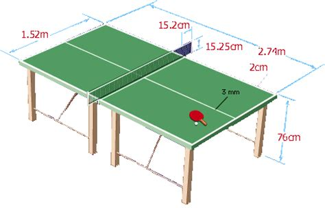 what are the dimensions of a table tennis table sports
