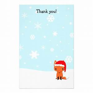 Thank you letters fox christmas stationary customized for Thank you letter stationery