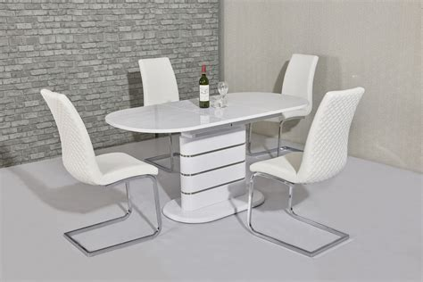 White Dining Table And Chairs by Small Oval White Gloss Dining Table 4 White Chairs