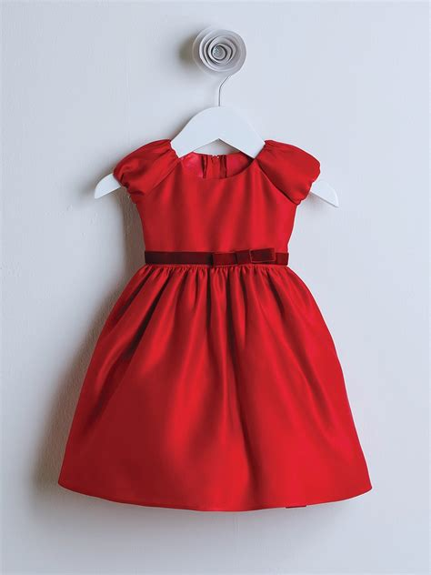 red classic satin holiday dress