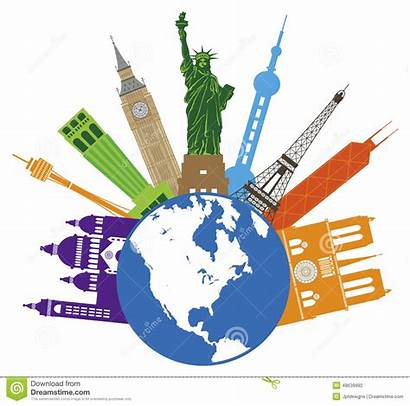 Globe Travel Vector Clipart Illustration Places United