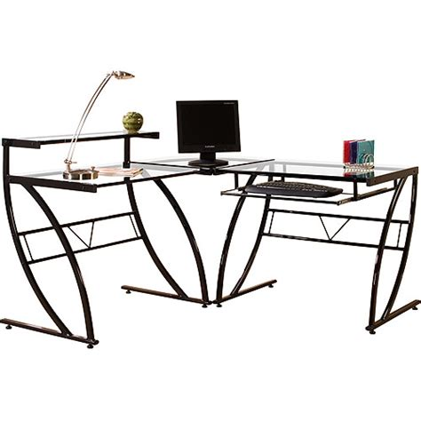 L Shaped Glass Desk Walmart florence l shaped glass desk black and clear walmart