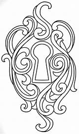 Designs Coloring Pages Embroidery Patterns Adult Mandala Burning Wood Lock Key Colouring Urban Threads Tree Stencils sketch template