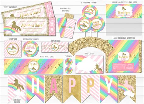 unicorn glitter complete party package  printable