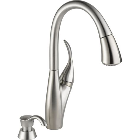 kitchen faucet stainless steel shop delta berkley stainless steel 1 handle pull down kitchen faucet at lowes com