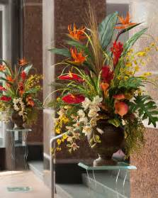 Planter Buckets by Exotic Decorating With Tropical Paradise Silk Arrangement