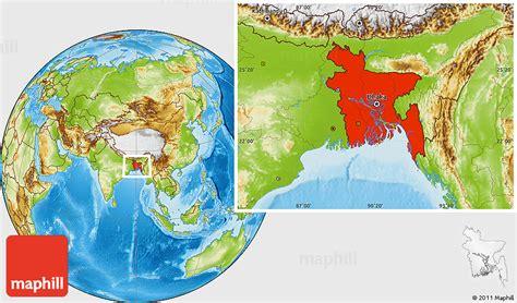 Physical Location Map Of Bangladesh