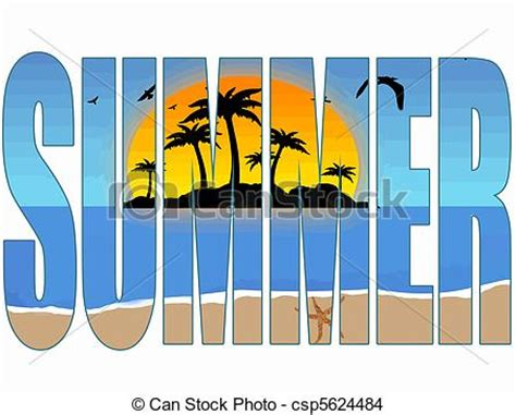 How To Choose Artwork by Eps Vector Of Summer Title With A Tropical Scene In The