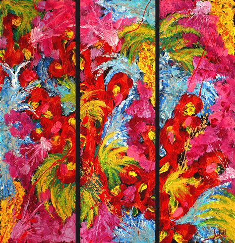 floral abstract triptych on black background painting by