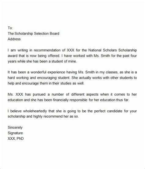 Free Recommendation Letter Sle by 30 Scholarship Recommendation Letter Exle
