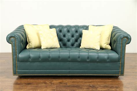 Chesterfield Traditional Tufted Leather Sofa, Brass Nail