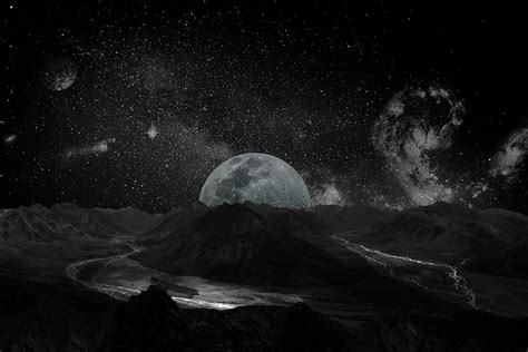 Free Photo Moon Milky Way Space Galaxy Background Universe