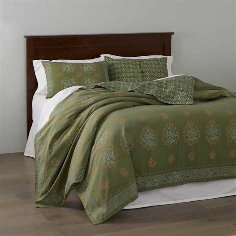 block print mandala bedding olive green bedding serrv